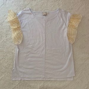 ✨ Anthropologie White and Yellow Ruffled Top ✨